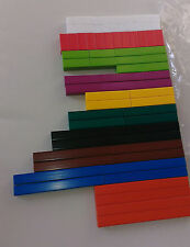 Cuisenaire type rods  (A new pack of 74 plastic rods for maths teaching/learning
