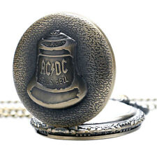 Hells Bell ACDC Quartz Pocket Watch Vintage Bronze Necklace Chain Pendant Gifts