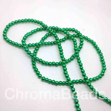4mm Glass faux Pearls strand - Emerald Green (over 200 beads) jewellery making