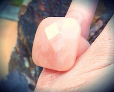 ALL STONE NATURAL PINK ROSE QUARTZ RING MACY'S QVC SZ 7 FACETED GEMSTONE JEWELRY
