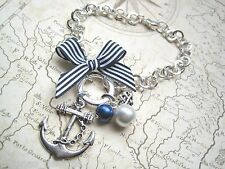 ANCHOR NAUTICAL Navy Stripe Bow Silver Plated Charm Bracelet Sailor Jerry Pearl