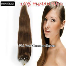 Micro Ring Beads 100% Human Hair Extensions 18inch 100s/50g #06 Chocolate Brown