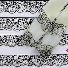 HOT 3D Lace Flower French Nail Art Stickers Manicure Nail Decals Tips Black CAWB
