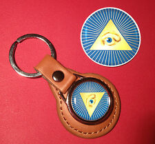 All Seeing Eye Masonic Masons high quality Leather key ring & phone   sticker