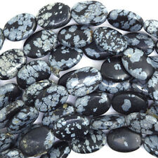 "14mm black snowflake obsidian flat oval beads 15.5"" strand"