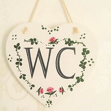 Shabby Chic WC Sign Wooden Toilet Bathroom Heart Plaque Country Cottage Floral
