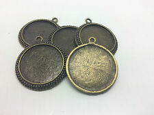 5 x Antique Bronze Cabochon Pendant Tray settings 25mm for charm, cameo glass