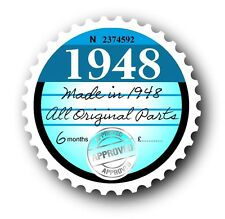 Retro 1948 Tax Disc Disk Replacement Vintage Novelty Licence Car sticker decal