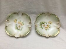 "Set of 2 ""R.S. PRUSSIA PORCELAIN BERRY SERVING BOWLS"" -- Floral w/Gold Trim 5"""