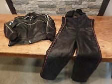 Yamaha Leather Snowmobile Suit Jacket & Bibs Vintage Maxim Wear Size L & M COOL!