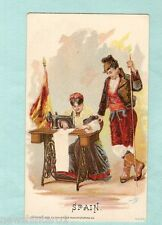 #A.  1892 SINGER SEWING MACHINE COSTUME CARD - SPAIN, FLAG
