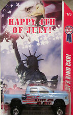 "Hot Wheels CUSTOM DODGE RAM 1500 ""Happy 4th Of July"" Real Riders 1/5 Made !!!"