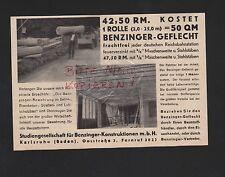 KARLSRUHE, Werbung 1935, Studiengesellschaft für Benzinger-Konstruktionen mbH