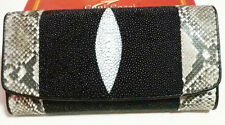 100% Genuine Python snake sting ray wallet women's Leather Lady clutch Trifold
