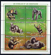 CHAD 1998 GORILLAS & CHIMPANZEES  SHEET OF 6  DIFFERENT STAMPS SCOTT 770 A-F