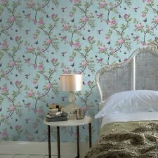 50-763 V&A Collection Chinoiserie Duck Egg Floral Birds Feature Wallpaper