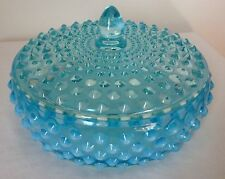 VINTAGE FENTON ART GLASS BLUE OPALESCENT HOBNAIL LID COVERED CANDY DISH
