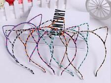 Set of fifteen (15) striped cat ear headbands