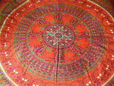 INDIAN COTTON BEDSPREAD Purple & Red MANDALA Ethnic Blanket COVER THROW DOUBLE