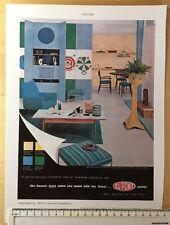 """Vintage colour advert 1958: 11"""" x 8"""" (28cm x 20cm) Dupont Paints Reprint"""