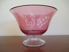 LENOX Crystal, Etchings - Cranberry 9 1/4 inch Round Pedestal Bowl
