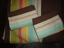 POTTERY BARN TEEN PB CAFE (3PC) FULL QUEEN DUVET BROWN GREEN PINK STRIPE COTTON