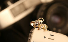 Gold & Clear Diamante Koala Bear Anti Dust Ear Plug 3.5mm For Mobile Phones