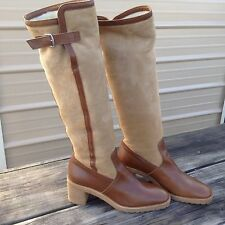 Women's 8.5 Hermes Paris riding style boots suede w/faux fur lining lightly used