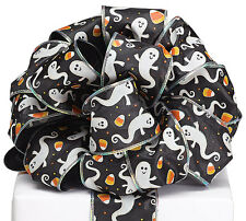 """New 4 yards Halloween Ghost Ribbon 2-1/2"""", Wired Ghost Halloween Ribbon"""