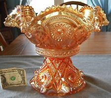 ANTIQUE IMPERIAL GLASS MARIGOLD CARNIVAL GLASS FASHION PUNCH BOWL AND STAND