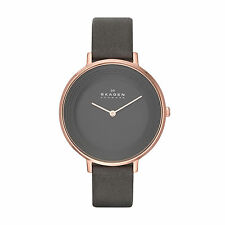 Skagen Ditte Stainless Steel Grey Leather Women's Watch SKW2216