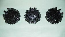 Lego Parts Black Wheels #64712 Hard Plastic Cleats Flanges LOT of 3    #LX97