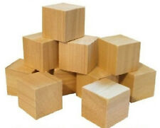3 Inch Natural Wood Toy Building Block/Cube 3 Inch Size Qty Six (6) Made in USA