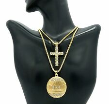 "MEN ICED OUT CROSS & LAST SUPPER PENDANT 24"" & 30"" BOX CHAIN COMBO NECKLACE C01"