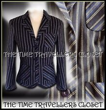 Kate Moss Topshop Navy Blue Cream Striped Tailored Preppy Blazer Jacket UK 14 16