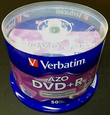 50 VERBATIM AZO Blank DVD+R 16X Branded 4.7GB  Disc 50pk Spindle 95037