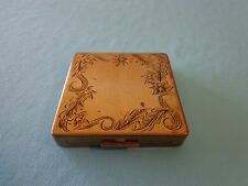 "Vintage  mirrored compact 2 5/8"" square gold tone floral etched Design"