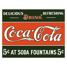 Coca Cola 5 Cents At Soda Fountains Tinplate Metal Plaque Wall Art Sign New