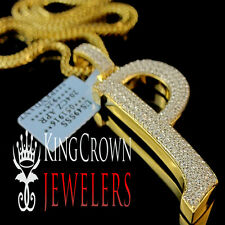 Real 14k Yellow Gold On Silver Micro Pave Simu Diamond Initials Letter P Pendant