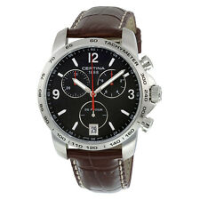 Certina DS Podium Chronograph Black Dial Brown Leather Mens Quartz Watch