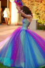 Sparking Beaded Colored Wedding Dresses 2016 Ball Gown Rainbow  Bridal Gowns