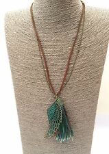 Copper Wing Feather Turquoise Tassel Boho Leather Antique Gold Layer Necklace