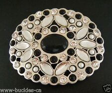 BEAUTIFUL WHITE RHINESTONE FLOWER WITH A BLACK STONE DRESSY BELT BUCKLE