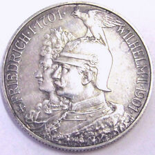 RARE 1901 PRUSSIA SILVER COIN! 200 YRS MONARCHY EMPEROR in EAGLE HELMET Sharp AU