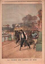 Racing Course Jambes de Bois Handicapés Invalides Paris France 1897 ILLUSTRATION
