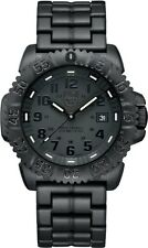"NEW LUMINOX NAVY SEAL ""BLACKOUT"" TIME, DATE; BLACK DIAL, PRINT, HANDS 3052.BO"