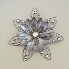 Stunning 30cm Flower Jewelled 3D Metal Wall Art Decor Hanging