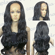28 inch Hi_Temp Series Lace Front  Black Curly  Long Cosplay DNA Wigs S001
