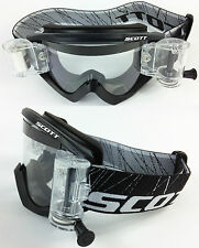 Scott Recoil Xi Motocross Mx Goggles Black Con gsvs roll-off Sistema Nuevo