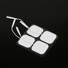 20 Replacement Massager Tens Unit ELECTRODE PADS 4X4cm White Cloth 2mm Connector